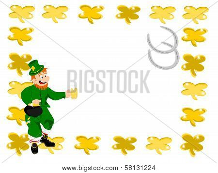 leprechaun beer square gold clover