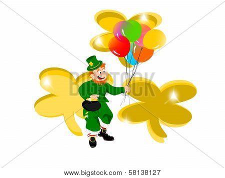 leprechaun balloons gold clover