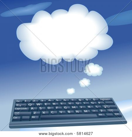 Cloud Computing Computer Keyboard Speech Bubble Clouds