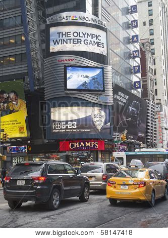 Comcast NBC Universal billboard decorated with Sochi 2014 XXII Olympic Winter Games logo