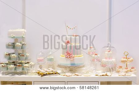 Elegant Sweet Table With Big Cake, Cupcakes, Cake Pops On Dinner Or Event Party.