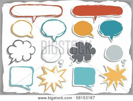 colorful hand drawn different shapes blank speech bubble set