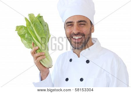 Cook Or Chef Holding A Fresh Lettuce