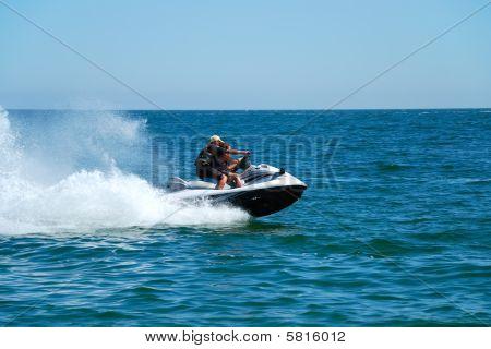Man On A High Speed Jet Ski