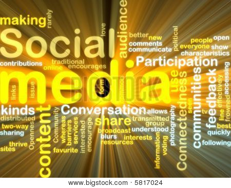 Social Media Wordcloud Glowing