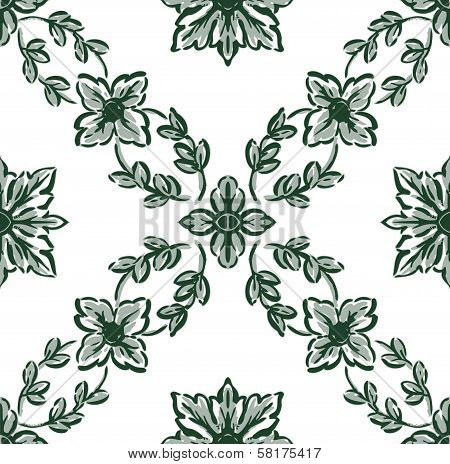 Classical Green Flower Graphic For Unlimited Repeat To Larger Pattern