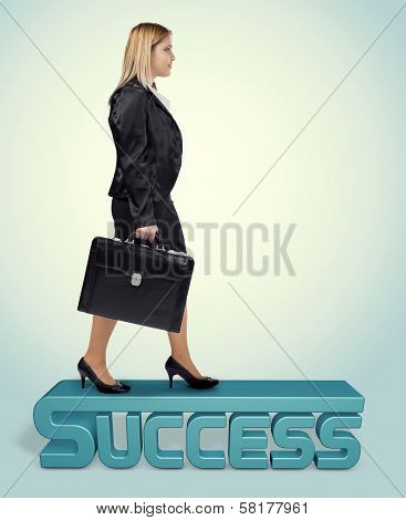 Young Blonde Business Woman On Her Road To Success