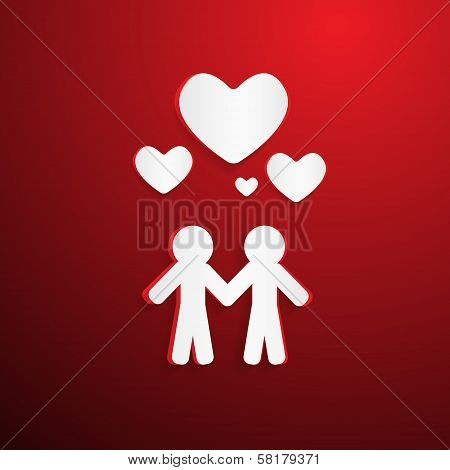 Two Paper People With Hearsts On Red Background