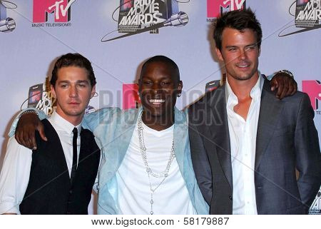 Shia LaBeouf with Tyrese Gibson and Josh Duhamel in the press room at the 2007 MTV Movie Awards. Gibson Amphitheatre, Universal City, CA. 06-03-07