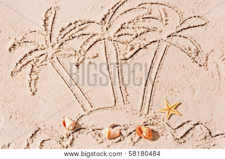 Uninhabited Island In The Ocean And Palm Trees Painted On The Sand