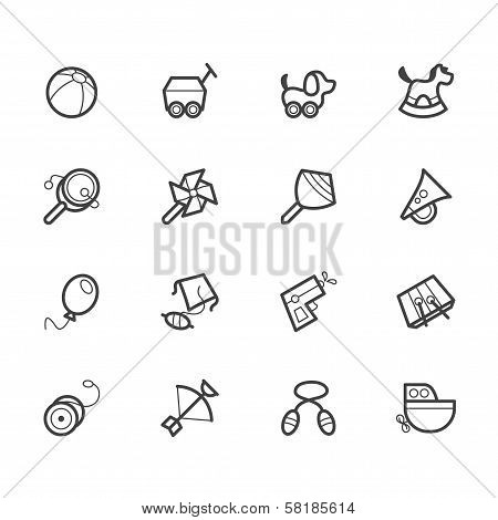 Baby Toys Vector Black Icon Set On White Background