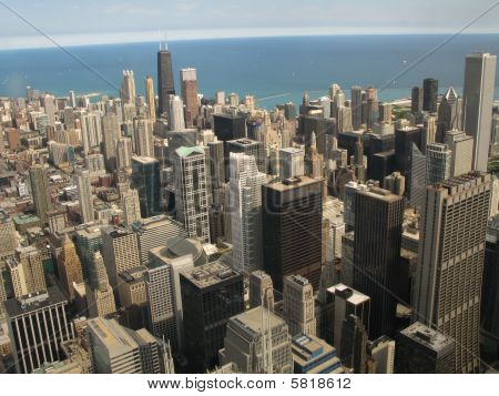 Aerial View Of Chicago, Illinois Looking North From The Sears Tower