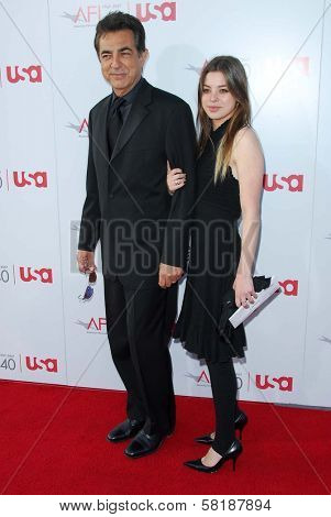 Joe Mantegna and guest at the 35th Annual AFI Life Achievement Award celebration honoring Al Pacino. Kodak Theatre, Hollywood, CA. 06-07-07