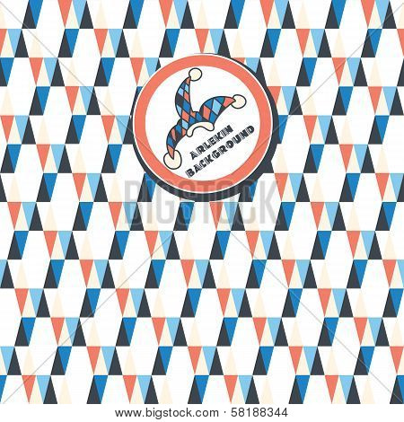 a seamless pattern of white, dark blue, red triangles on a white background