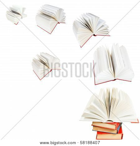 Open Books Fly Out Of Stack