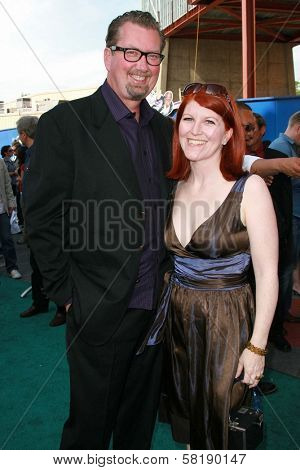 Kate Flannery and guest at the world premiere of