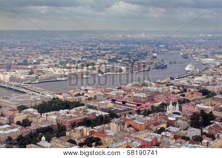 Aerial Photography A European City, Divided Navigable River.