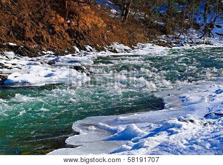 River In Winter Under Snow