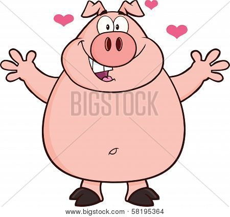 Happy Pig Cartoon Mascot Character Open Arms And Hearts