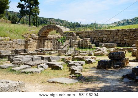 The Entrance In Ancient Olympia Stadium, Peloponnes, Greece