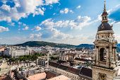 stock photo of hungarian  - View at Budapest and belfry from the top of St - JPG