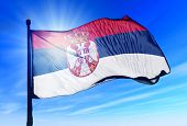 pic of serbia  - Serbia flag waving on the wind on the sky - JPG