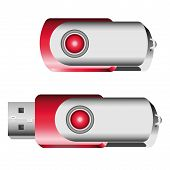 foto of memory stick  - Set of opened and closed red USB memory sticks - JPG