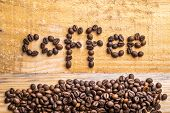 pic of nouns  - Light wood background texture with coffee beans writing the word  - JPG