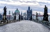 picture of bohemia  - Tourists walk along the Charles Bridge in Prague