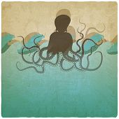 image of octopus  - Vintage marine background with octopus  - JPG