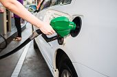 Female Hand Holding Green Pump Filling Gasoline