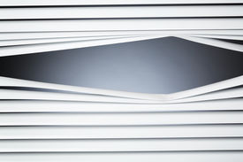 foto of snoopy  - Closed white venetian blinds with a peeking hole and copy space - JPG