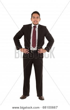 young executive posing fullbody