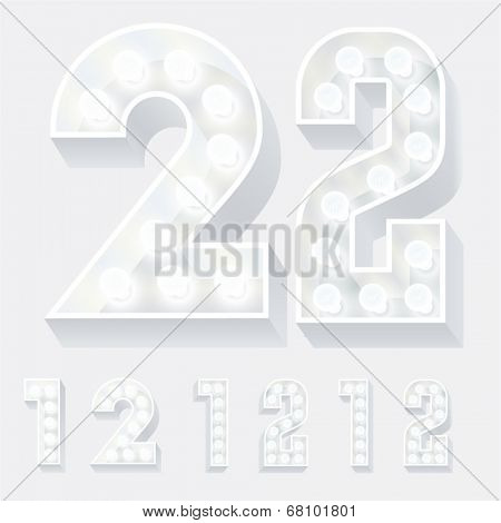 Vector illustration of unusual white lamp alphabet for light board. Numbers 1 2