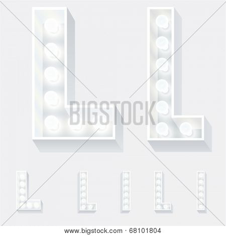 Vector illustration of unusual white lamp alphabet for light board. Letter l