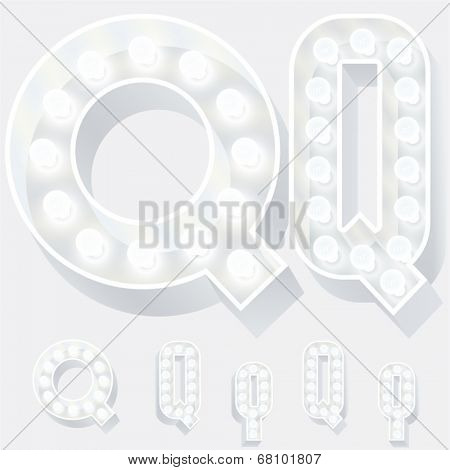 Vector illustration of unusual white lamp alphabet for light board. Letter q