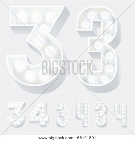 Vector illustration of unusual white lamp alphabet for light board. Numbers 3 4