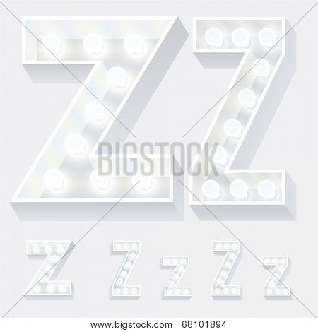 Vector illustration of unusual white lamp alphabet for light board. Letter z