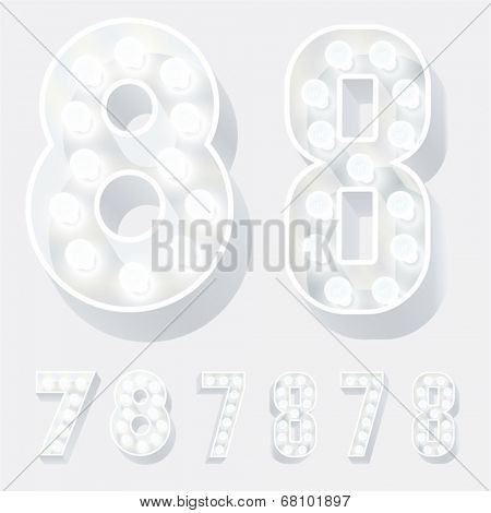 Vector illustration of unusual white lamp alphabet for light board. Numbers 7 8