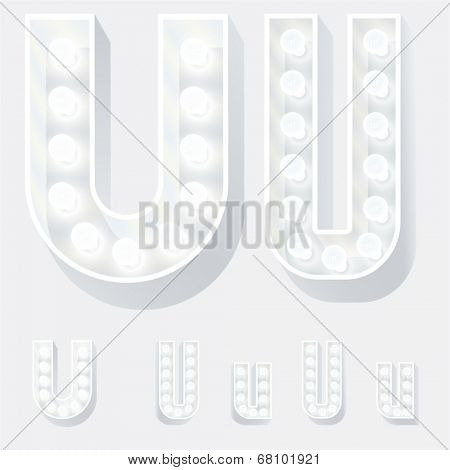 Vector illustration of unusual white lamp alphabet for light board. Letter u