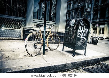 New York City street scene - soho area -bike