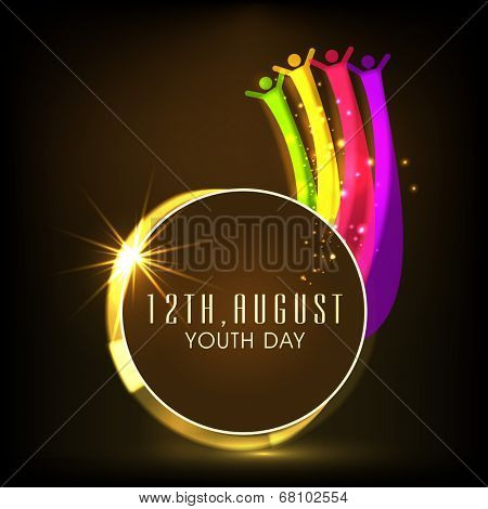 International Youth Day with colorful happy people silhouette on shiny brown background for International Youth Day.