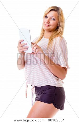 Woman Girl Using Tablet Touchpad Reading E-book E-reader Isolated