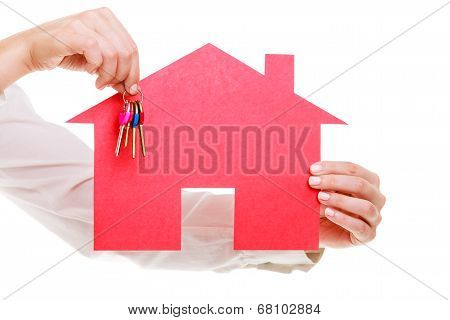 Business Woman Real Estate Agent Holding Red Paper House Keys