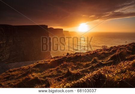 Cliffs Of Moher At Sunset In Co. Clare, Ireland Europe