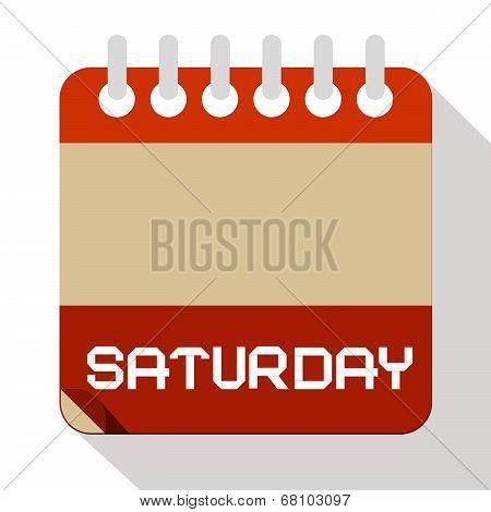 Saturday Vector Paper Calendar Illustration