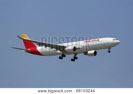 Iberia Airline Airbus A330 in New York sky before landing at JFK Airport