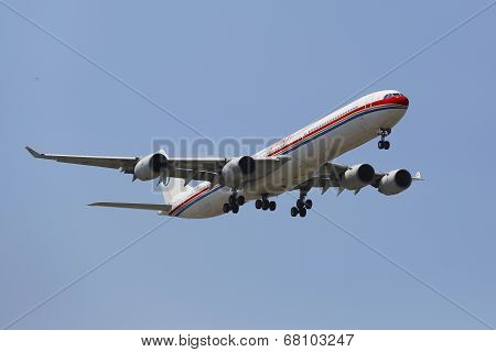 China Eastern Airlines Airbus A340 in New York sky before landing at JFK Airport