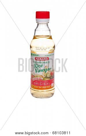 HAYWARD, CA - July 8, 2014: 12 oz bottle of Nakano Seasoned Rice Vinegar, manufactured by Mizkan Americas, Inc., IL