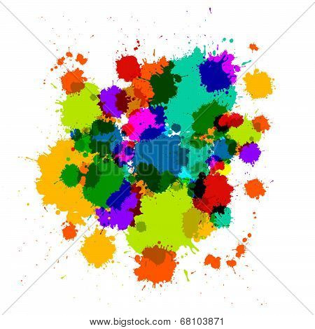 Colorful Transparent Vector Stains, Blots, Splashes